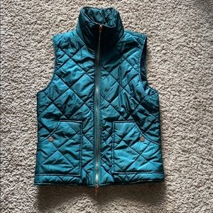 Emerald Green Puffer Vest with Rose Gold accents